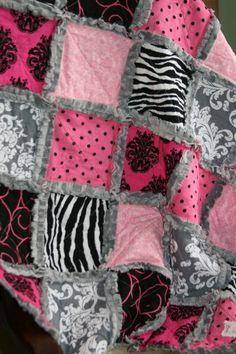 Rag Quilt Baby Girl Rag Quilt Damask Hot Pink Black Grey Nursery