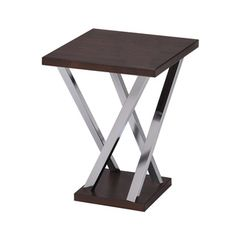 Walnut and Chrome Finish Side End Snack Table | Overstock™ Shopping - Great Deals on Coffee, Sofa & End Tables