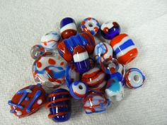Red white and blue lampwork beads.