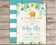 Elephant Baby Shower Invitation Boy A little Peanut by cardmint