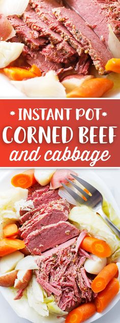 When your vegetables are done cooking, do a quick release and use a slotted spoon to remove vegetables to a platter along with the sliced meat. Pour some of the liquid from the pot over the meat and vegetables. Serve and enjoy!