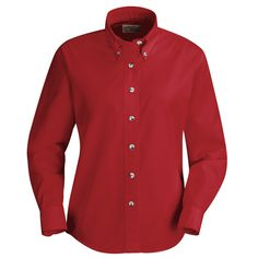 Red Kap Women's Poplin Dress Shirt - Long Sleeve - Red - Add a touch of style to the day. This dress staple features tortoise shell buttons a female silhouette and eight color choices. Combined with our Touchtex technology for superior color retention and soil release this shirt gets it right every time.| #RedKap