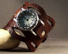 Gift For Women-Birthday Gift-Gift Best Friend-Wedding Gift-Unique Watch-Vintage Watch-Leather Jewelry-Brown Cuff-Ladies Watch