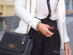 Black and White with Mulberry Lily. Great sized bag for day and evening!