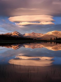 Lenticular clouds over Mt Dana, Mt Gibbs and Mammoth Peak reflected in flooded Tuolume Meadows, Yosemite National Park, California
