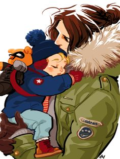 winter daddy with baby cap fanart by temariart | Caring/guardian Bucky is best Bucky.
