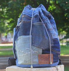 * * * bRuckSack SHOP - UPCYCLED JEANS BACKPACKS * * * Welcome to my shop! My name is Tatiana and I make unique patchwork jeans backpacks. Check out my work! * * * This bag has whole lotta pockets. Can you imagine so many pockets on one bag? 10 or even more! It is made out of used jeans.