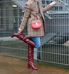 Burgundy Boots, Red Boots, Work Fashion, Fashion Boots, Tall Leather Boots, Tall Boots, High Boots, Houndstooth Jacket, Equestrian Boots