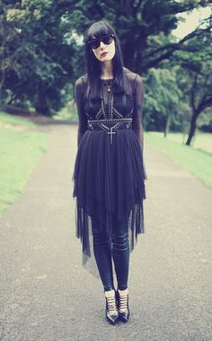 goth / rad dress, leggings, and sunnies. all black everything