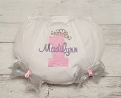 BIRTHDAY Pink /& Silver Applique Diaper Cover PERSONALIZED Bloomers with Boutique Bows Design your own