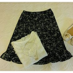 """FINAL PRICE"" Skirt in blk/white Perfect condition  No stain or rip  Like new  Rarely worn  Elasticized waist  Ruffles bottom hem Tops , necklace and shoes sell separately. George Skirts A-Line or Full"