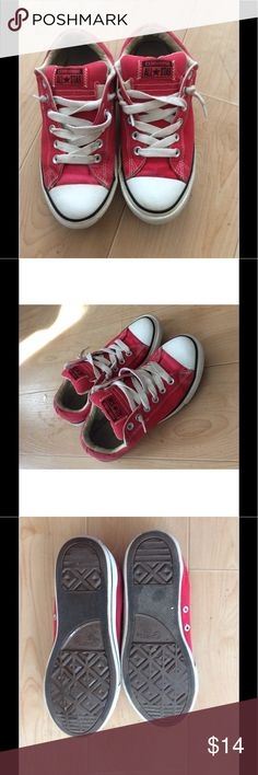 CONVERSE All Stars JUNIORS RED Lace Up SIZE 5 Buyer gets these Awesome Pre Owned Converse All Stars red lace up shoes. SIZE Junior 5 SEE PICS Fantastic Condition Minimal Wear SEE PICs. No Holes Tares or Stains Smoke Free Home Converse Shoes Sneakers