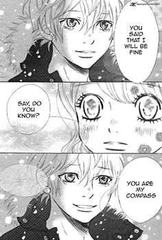 """""""You are my compass."""" I always read this part like Yano it's trying to say that Nana is his only landmark (?) and that he can keep living thanks to her support. I cried a lot for this manga. Bokura ga ita, by Obata Yuuki. Best Shoujo Manga, Anime Manga, Bokura Ga Ita Manga, My Compass, Otaku, High School Romance, Romantic Manga, Easy To Love, Manga Sites"""