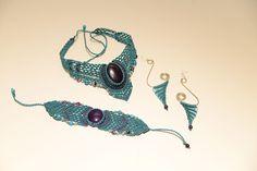 Σετ κοσμημάτων με ημιπολύτιμους λίθους. Handmade macrame jewelry - Heraki.gr