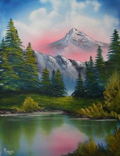 Painting Bob Ross Landscape Ideas - Photography İdeas,Photography Poses,Photography Nature, and Vintage Photography, Mountain Paintings, Nature Paintings, Beautiful Paintings, Landscape Paintings, Beautiful Landscapes, Acrylic Paintings, Oil Paintings, Bob Ross Landscape, Abstract Landscape