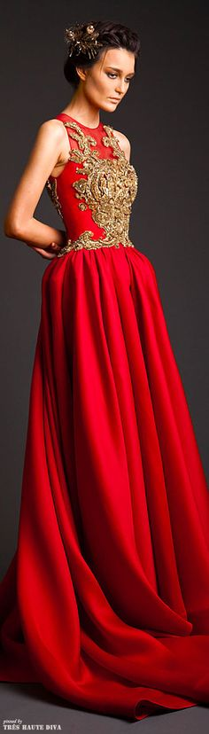 Lady in RED...Krikor Jabotian Couture 2014 red evening gown