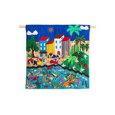 NOVICA Hand Made Cotton Patchwork Seaside Village Wall Hanging ($117) ❤ liked on Polyvore featuring home, home decor, wall art, wall decor, wall hangings, fish wall art, handmade wall art, novica, handmade wall hanging and novica home decor