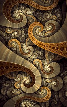 Fractal art,Treasure by tatasz on deviantART Fractal Geometry, Sacred Geometry, Fractal Images, Fractal Art, Fractal Design, Psychedelic Art, Grafik Design, Arabesque, Optical Illusions