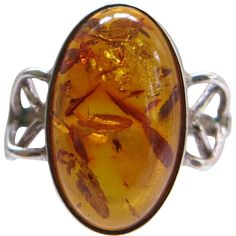Modernist Amber Sterling Ring Vintage Oval Cabochon Size 6.5 offered by Cousins Antiques