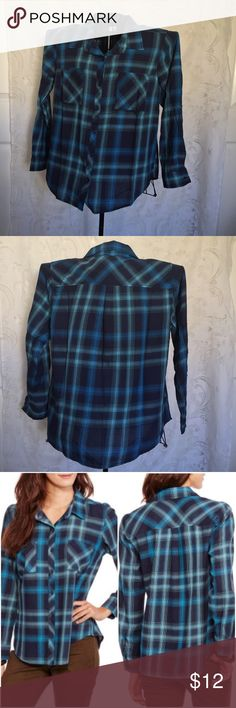 Faded Glory 100% Cotton Long Sleeve Shirt NWT Long Sleeve Classic Button Front Plaid Shirt with 2 Pockets.  100% lightweight cotton. 1-button Sleeve  closure. Various sizes: Med (8/10) Large (12/14) and X-Large (16/18) Shirts are New With Tags. Faded Glory Tops Button Down Shirts