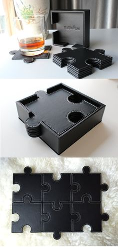 Puzzle Leather Coasters