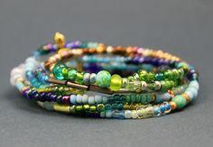 Armband Wickelarmband Kette Perlen Glasperlen Rocailles grün blau gold  Boho Gipsy Hippie  LeneWithLove