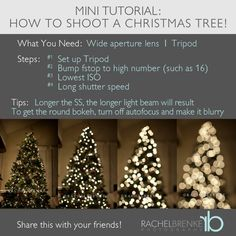 christmas photography How To Shoot Christmas Tree Lights Photography Basics, Photography Lessons, Photoshop Photography, Photography Tutorials, Photography Ideas, Photography Lighting, Photography Business, Photography Studios, Photography Marketing