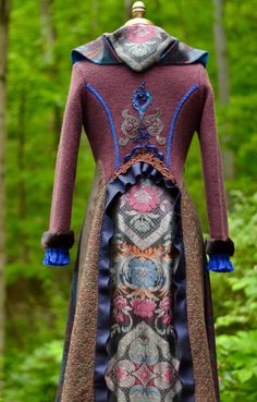 Patchwork brown blue appliquéd boho sweater coat by amberstudios