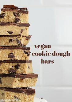 Vegan Cookie Dough Bars #vegan #chocolate #dessert #snack #recipe