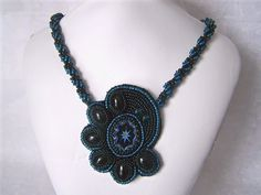 Art Deco Style Bead Embroidered Pendant by TheBeadedWebBeadweav