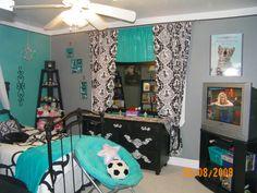 black teal girl room decorating tween chic fun girls room designs