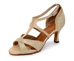 Minishion Womens Style QJ6203 Tstrap High Heels Gold Mesh Salsa Latin Dance Shoes 10 M US >>> Check out this great product.
