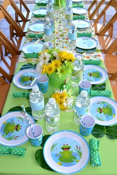 Table settings at a Frog Party.  See more party ideas at CatchMyParty.com. #frogpartyideas