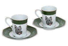 Hermès Scottish Terrier Teacups, S/2