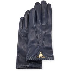 Prada Napa Leather Gloves ($445) ❤ liked on Polyvore featuring accessories, gloves, dark blue, prada, knuckle gloves and prada gloves