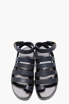PIERRE HARDY Stone Grey Leather DY01 Gladiator Sandals