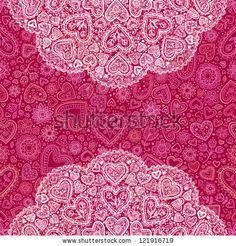 Ornamental round hearts pattern, red hearts background with details in Indian style by art_of_sun, via ShutterStock
