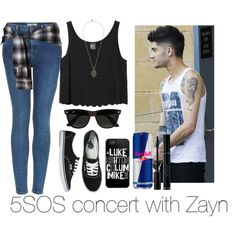 5sos concert with Zayn by robypese on Polyvore featuring Monki, Topshop, Vans, Vanessa Mooney and Ray-Ban