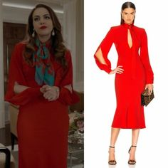 Fallon Carrington wears this orange-red slash-front long-sleeve midi Victoria Beckham dress on Dynasty Classy Outfits, Chic Outfits, Dress Outfits, Girl Outfits, Fashion Outfits, Semi Formal Dresses Long, Court Outfit, Dynasty Clothing, Der Denver Clan