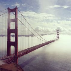 "The Golden Gate Bridge in the Clouds Instagram Print Instagram Canvas Wall Art - 16x16"" Canvas photography print - Gallery-wrapped around 1"" thick wooden frame - Easy to hang, with hanger on the back"