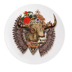 Love Who You Want Monseigneur Bull Dessert Plate by Christian Lacroix for Vista Alegre