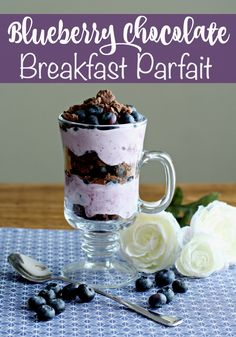 Blueberry Chocolate Breakfast Parfait Recipe- add a little sweet and a lot of crunch with this sweet breakfast parfait- loaded with protein and fiber to keep you going all morning.  MeijerMorningWin AD
