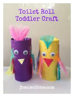 Fun and colourful #toddler craft #Toilet-roll craft: Pinchy Parrots