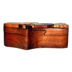 double heart Handcrafted Trinket Jewelry Puzzle Box Wooden Hiddens US SELLER