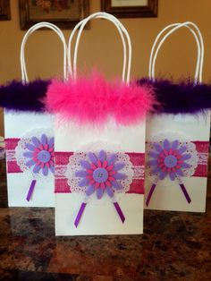 Pink and purple girl favor bags