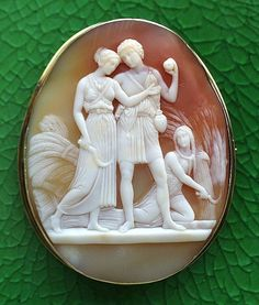 Shell cameo circa 1850-1860, Youth - Summer by Thorvaldsen (Persephone, Pluto and Ceres), French.