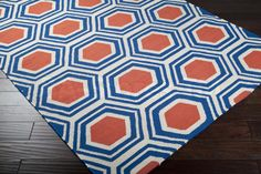 Rugs: Fallon Honeycomb Pattern Rug in Poppy Red and Ultramarine FAL-1035/1  http://www.ba-stores.com/product/fallon-honeycomb-pattern-rug-in-red-and-ultramarine