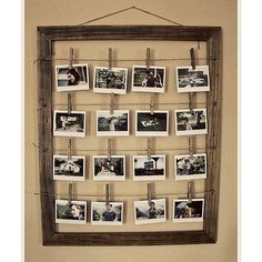 Picture Line. Bought a huge frame from the thrift store, painted it, tied twine across, pinned pictures, and wahlah!  Bedroom decor!