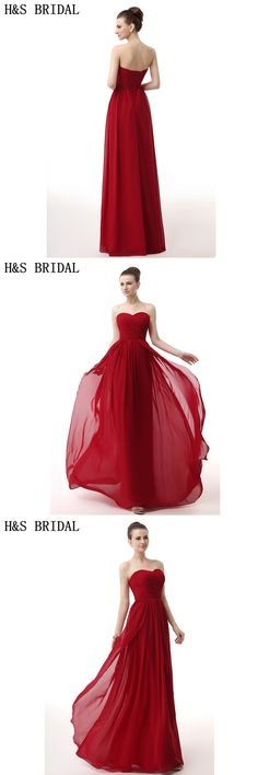 H S BRIDAL Chiffon Sweetheart elegant evening gowns Red Cheap Evening  Dresses Pleated Draped dresses party evening 2f4cd98d1174