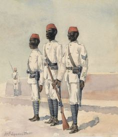 British; 10th Sudanese Battalion, Sergeant & two Other Ranks, 1889 (c). Watercolour by Major B D A Donne, 10th Sudanese Battalion.